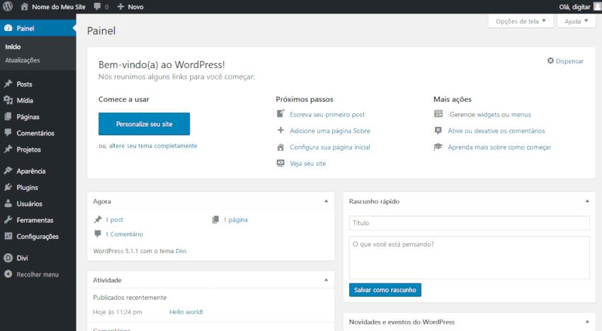 Como criar um site - Administração do WordPress