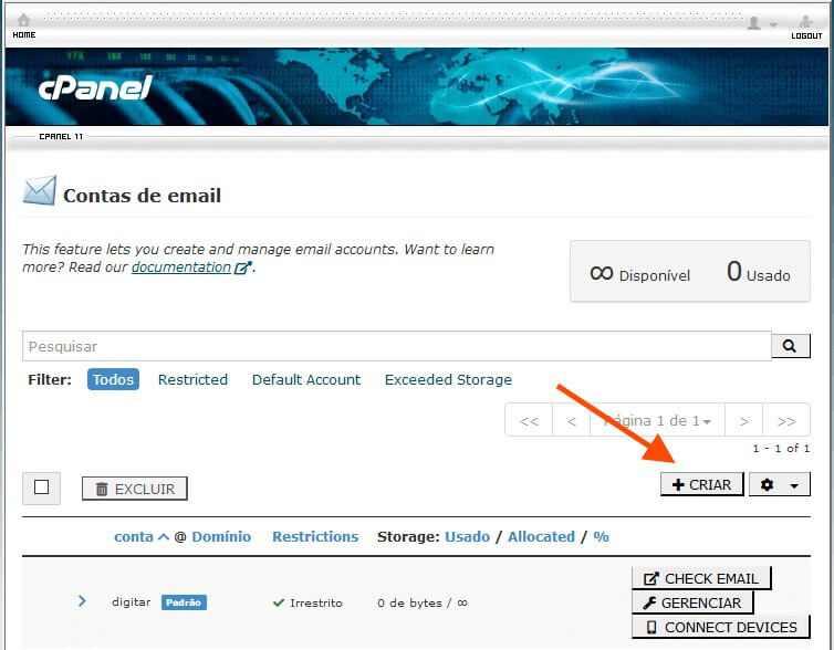 Como criar um site - Criar Conta de E-mail