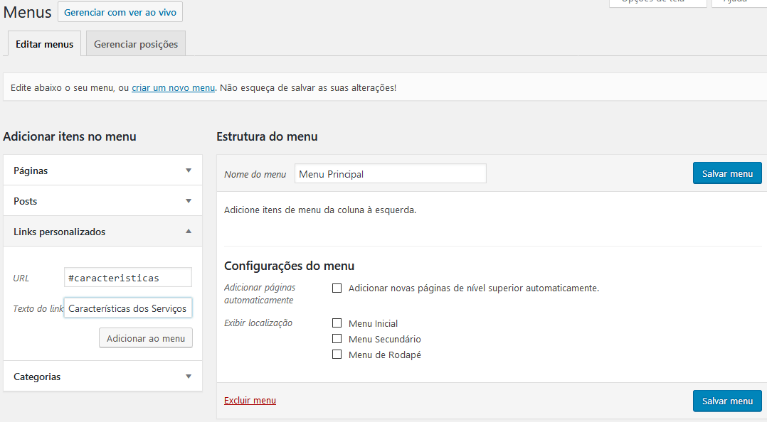Criando o Menu do Site